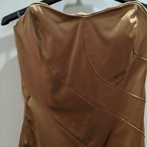 Bebe gold sheath  satin dress